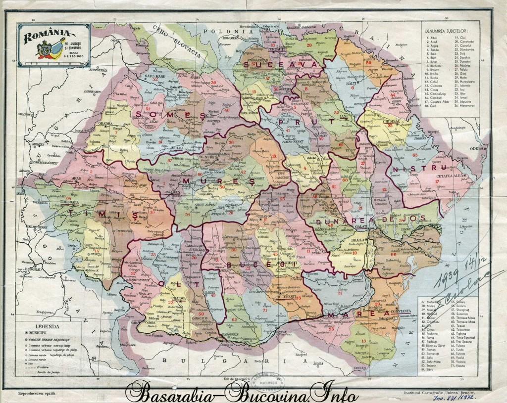 Romania Mare - Harta Administrativa - Basarabia-Bucovina.Info