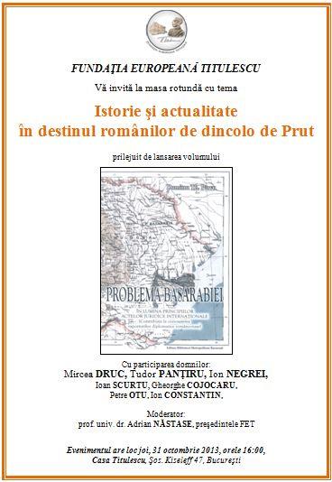 Lansare Problema Basarabiei - Dumitru Th. Pârvu - Ion Constantin - Basarabia-Bucovina.Info
