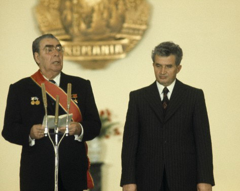 1988, Romania --- Former General Secretary of the Communist Party of the Soviet Union Leonid Brezhnev, General Secretary of the Romanian Communist Party Nicolae Ceausescu --- Image by © Alain Nogues/Corbis