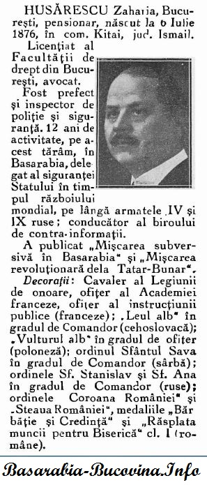 Zaharia Husarescu - Personalitati din Basarabia 1939 via Basarabia-Bucovina.Info