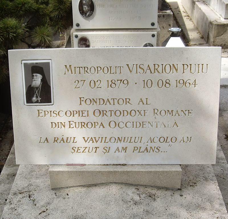 Placa de la Mormantul Mitropolitului Tombe_Visarion_Puiu,_Cimetière_du_Montparnasse Basarabia-Bucovina.Info