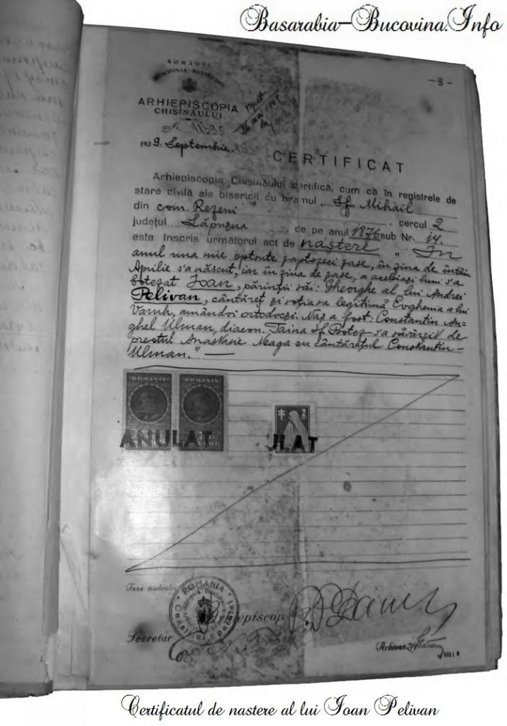 Certificatul de nastere al lui Ioan Pelivan - Basarabia-Bucovina.Info