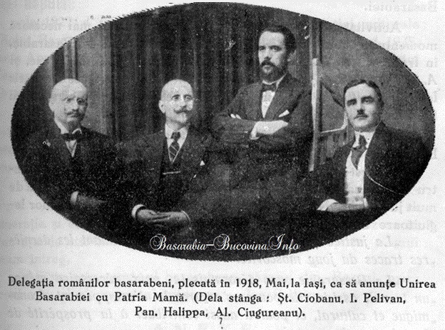 Delegatia Basarabiei - St Ciobanu, I Pelivan, Pan Halippa, Al Ciugureanu 1918 Basarabia-Bucovina.Info