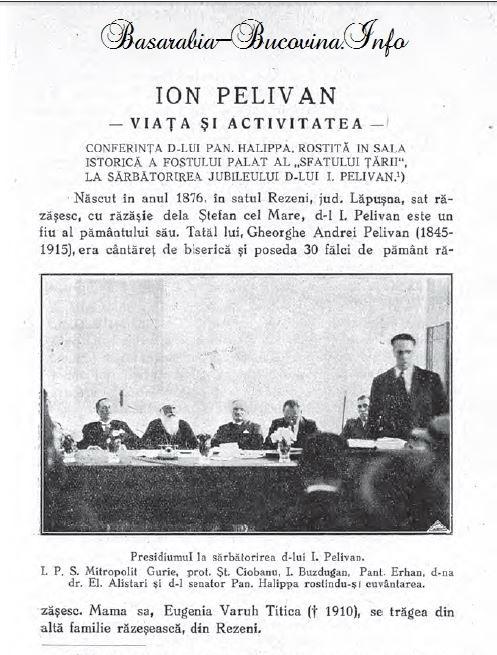 Ioan Pelivan evocat de Pan Halippa alaturi de Mitropolitul Guire Grosu - Basarabia-Bucovina.Info