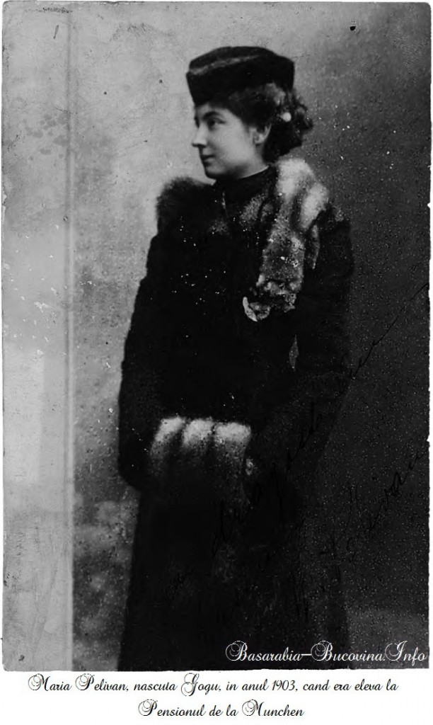 Maria Pelivan, nascuta Gogu, in anul 1903, cand era eleva la Pensionul de la Munchen - Basarabia-Bucovina.Info