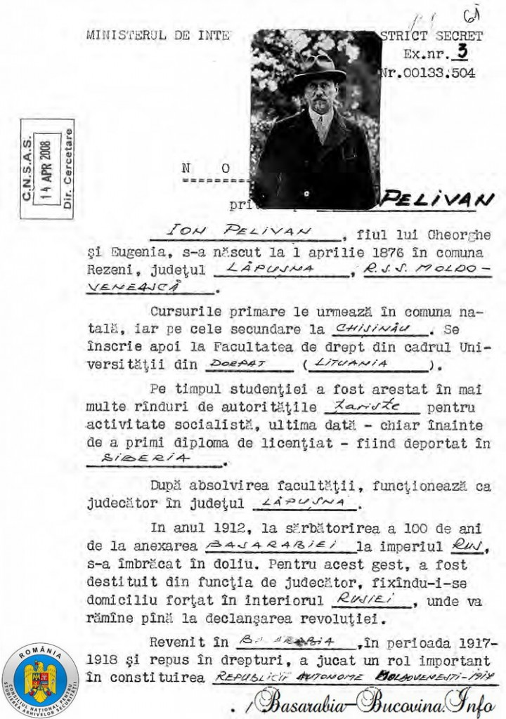 Nota a Securitatii privindu-l pe Ioan Pelivan - Basarabia-Bucovina.Info - CNSAS
