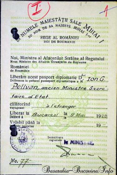 Pasaportul diplomatic al lui Ioan Pelivan Basarabia-Bucovina.Info