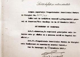 Unirea pe vecie a Bucovinei cu Regatul Romaniei. 18 Decembrie 1918 – Decretul Regelui Ferdinand si alte Documente